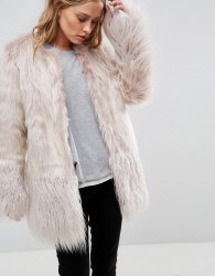 Urbancode Coat In Mongolian Faux Fur Mix - Pink