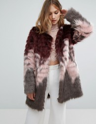 Urbancode Coat In Tri Colour Faux Fur - Red