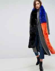 Urbancode Extra Long Colourblock Faux Fur Scarf - Multi