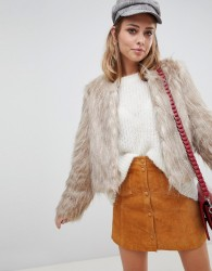 Urbancode faux feather crop jacket - Cream