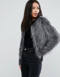 Urbancode Faux Feather Jacket - Grey