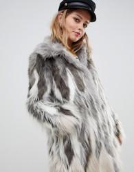 Urbancode faux fur coat with collar - Cream