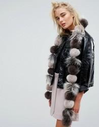 Urbancode Faux Fur Pom Pom Scarf - Multi