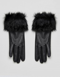 Urbancode Faux Fur Trim Real Leather Gloves - Black