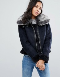 Urbancode Jacket With Large Faux Fur Collar - Navy