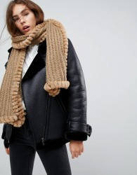 Urbancode Knitted Scarf With Faux Fur Trim - Beige