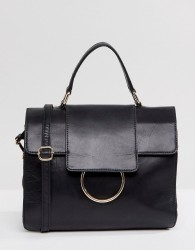 Urbancode Large Foldover Leather Messenger Bag with Ring Detail - Black