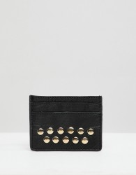 Urbancode leather card holder with studs - Black