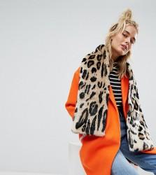 Urbancode Leopard Print Faux Fur Scarf - Multi