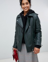 Urbancode longline biker jacket in textured faux leather - Green