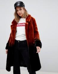 Urbancode longline coat in ombre faux fur - Black