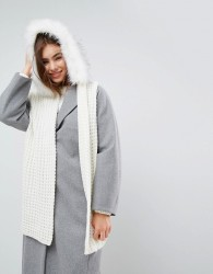 Urbancode Oversized Knitted Scarf With Faux Fur Trim Hood - Cream