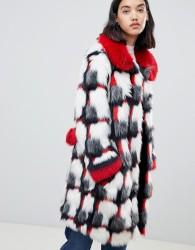 Urbancode printed patchwork faux fur coat - Multi