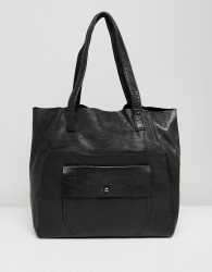 Urbancode Real Leather Shopper with Pocket - Black
