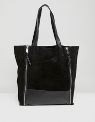Urbancode Shopper with Double Zip Detail - Black