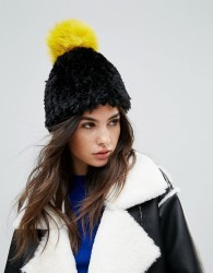 Urbancode Soft Knitted Beanie Hat With Contrast Pom Pom - Black