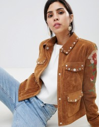 Urbancode Studded Trucker Jacket with Contrast Embroidery - Tan