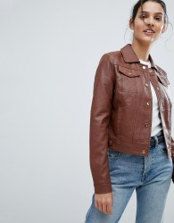 Urbancode Trucker Jacket in Leather Look - Tan