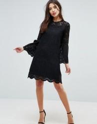 Uttam Boutique Bell Sleeve Lace Dress - Black