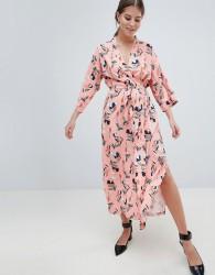 Uttam Boutique Belted Floral Midi Dress - Pink