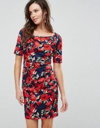 Uttam Boutique Floral Front Gathering Dress - Multi