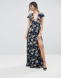 Uttam Boutique Floral Maxi Wrap Dress - Navy
