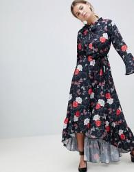 Uttam Boutique Floral Midi Dress With Flute Sleeve - Black