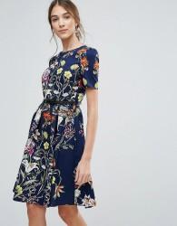 Uttam Boutique Floral Print Belted Dress - Navy