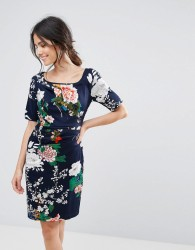 Uttam Boutique Floral Print Dress With Gathered Front - Navy