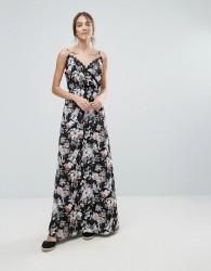 Uttam Boutique Floral Print Maxi Dress With Lace Trim - Black
