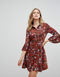 Uttam Boutique Floral Skater Dress With Button Front - Red