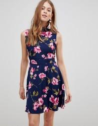 Uttam Boutique Flower Print Frill Neck Dress - Multi