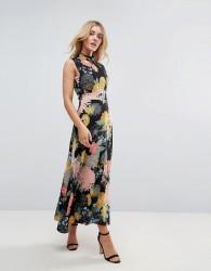 Uttam Boutique Flower Print Neck Dress - Multi