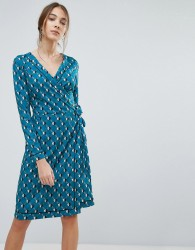Uttam Boutique Geometric Daisy Print Wrap Dress - Green