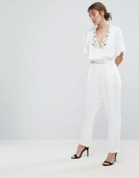 Uttam Boutique Jumpsuit With Floral Trim - White