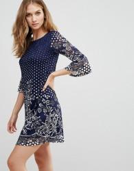 Uttam Boutique Lace Printed Dress - Black