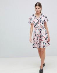Uttam Boutique Leaf Print Belted Skater Dress - Blue