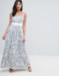 Uttam Boutique Maxi Dress In Floral Print With Contrast Band - Green