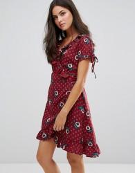 Uttam Boutique Paisley Print Frill Wrap Dress - Red