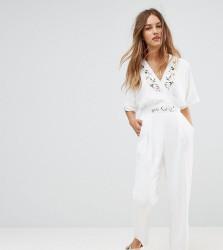 Uttam Boutique petite Jumpsuit With Floral Trim - White