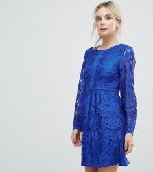 Uttam Boutique Petite Lace Detail Skater Dress - Blue