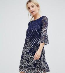 Uttam Boutique Petite Lace Printed Dress - Black