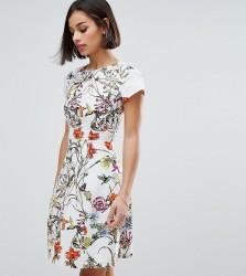 Uttam Boutique Petite Skater Dress With Pleated Neckline - Cream
