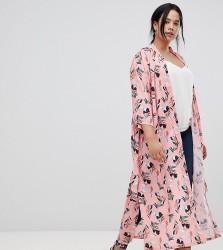 Uttam Boutique Plus Belted Floral Kimono - Pink