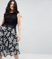 Uttam Boutique Plus Contrast Lace Shift Dress - Black