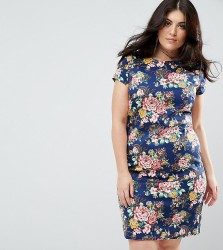Uttam Boutique Plus Floral Pencil Dress With Ruched Side - Navy