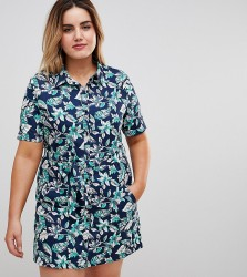 Uttam Boutique Plus Floral Print Button Front Skater Dress - Multi