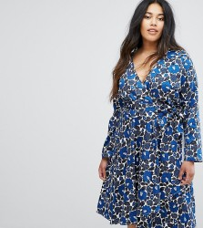 Uttam Boutique Plus Floral Print Wrap Front Dress - Navy