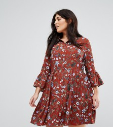 Uttam Boutique Plus Floral Skater Dress With Button Front - Red