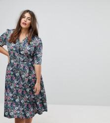 Uttam Boutique Plus Flower Print Button Dress - Multi